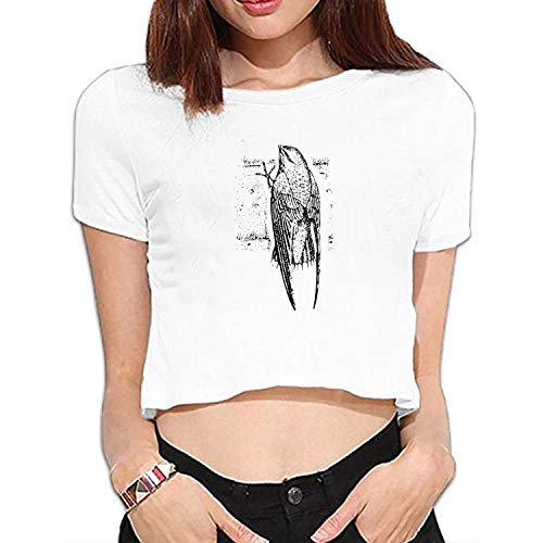 Women Summer Short Sleeve Top Tee Shirts Bird Feathers Tail Flight Graphic T-Shirts