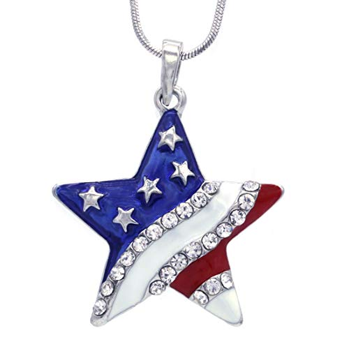 Soulbreezecollection 4th of July Independence Day American USA US Flag Star Necklace Pendant Charm …