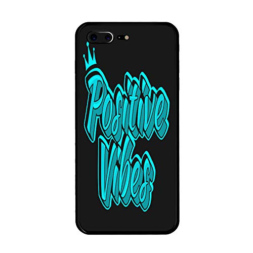 Positive Vibes Customized for iPhone 7 Plus/iPhone 8 Plus Case - Black Hard Plastic (5.5 inch)