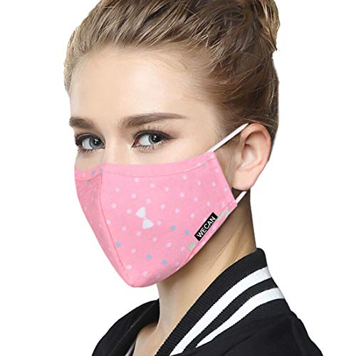 (Dust Mask Reusable, Cotton Comfy Mask Against Pollen Allergies, Protection for Air Pollution PM2.5 Flu Dustproof Face Mouth Respirator Masks (Pink Polka Dot, Woman) )