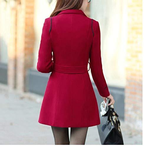 Tops Collar Turn Fitted Slim RkBaoye Women Pocket Big AS1 Woolen Down Outwear xawUXzq4