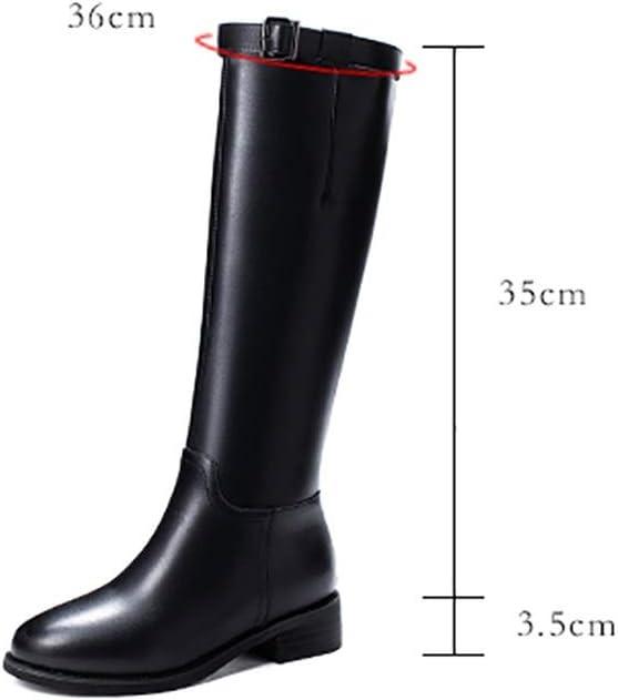 RFF-XZ vrouwen kniehoge laarzen herfst/winter 2019 nieuwe lage hakken ronde hoofd wilde dunne laarzen ridderlaarzen Zwart