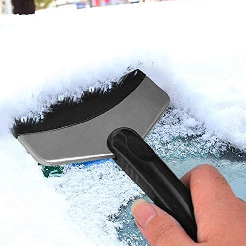 Nero e Argento ZengBuks Pala da Neve per Auto Raschietto da Neve in Acciaio Inossidabile Frigorifero Domestico Scongelatore Pala Accessori per Auto Corti