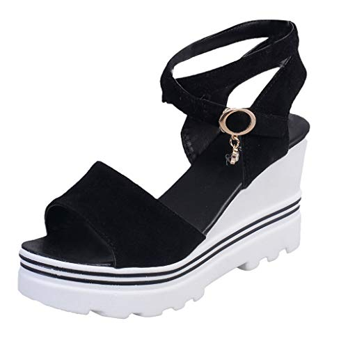 - Womens Lace up Platform Wedges Sandals Classic Ankle Strap Shoes Espadrilles Slide-on Peep Toe High Heel Dress Sandals Black