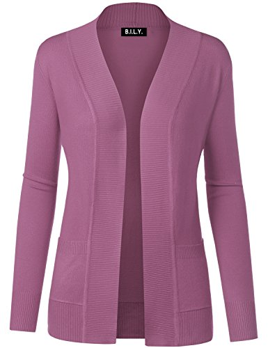 BH B.I.L.Y USA Women's Open Front Long Sleeve Classic Knit Cardigan Lilac ()
