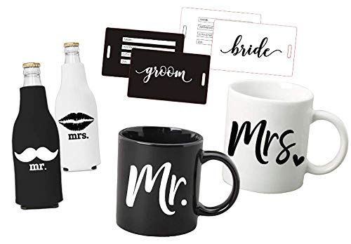 (Mr Mrs Box Set: Just Married - Mr and Mrs Coffee Mug Set - Bridal Shower Set- Mr and Mrs Mugs- Luggage Tags - Koozie Set- for Bride and Groom - for Bridal Shower Wedding and Newlywed)