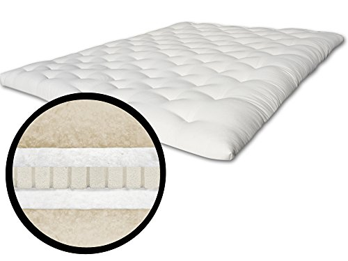 The Futon Shop Serenity Plus Chemical Free Wool, Latex and Organic Cotton Topper (Organic Cotton Futon Mattress)