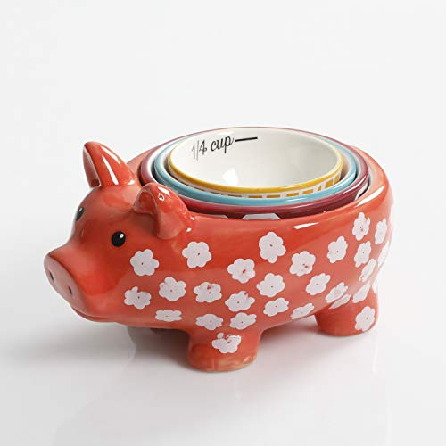 Urban Market by Gibson 99853.04RM Life on the Farm figuarl, measuing, Pig Measuring Cups, Assorted