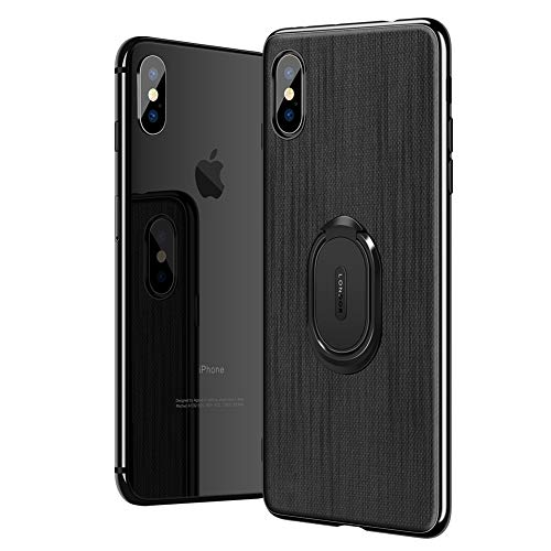 COPAAD iPhone Xs Max Case, Slim Scratch Resistant Shockproof Case with Ring Bracket and Automotive Magnetic Brackets, Dark Gray