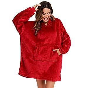 YEPLINS Couverture de Sweat à Capuche Sherpa Adultes, Pull Doudou Femme Couverture à Capuche surdimensionné, Couverture…