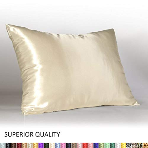 Shop Bedding Luxury Satin Pillowcase for Hair - Standard Satin Pillowcase with Zipper, Ivory (Pillowcase Set of 2) - Blissford