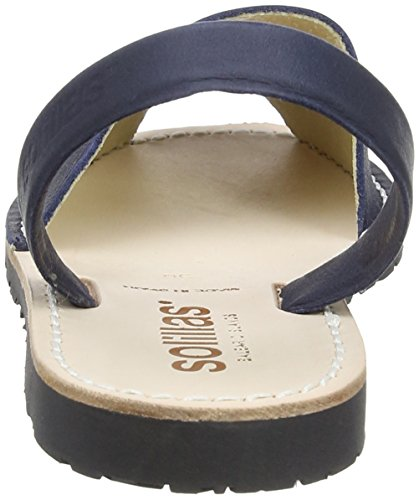 Solillas - Sandalias de vestir de cuero para mujer azul azul marino