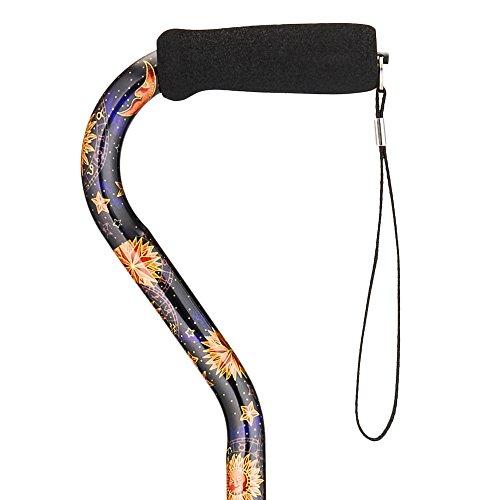 """NOVA Medical Designer Walking Cane with Offset Handle, Lightweight Adjustable Walking Stick with Carrying Strap, """"Celestial"""" Design -"""