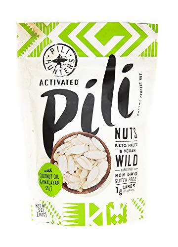(PILI HUNTERS The Original Wild Sprouted Pili Nuts, with Himalayan Salt and Coconut Oil, Keto, Vegan, Low Carb Energy, No Sugar Added, Ketogenic Fat Superfood, Gluten/Soy/Dairy Free, (5 oz Bag))