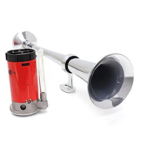 Single Trumpet Horn (Custom Autos 12V Super Loud 150db Single Trumpet Air Horn - Premium Quality Single Trumpet Air Horn Chrome + Compressor)
