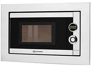 Schneider - Microondas Smw205, 20L, 800W, 7 Niv De Potencia Grill 1000W Digital Exterior Interior Inox