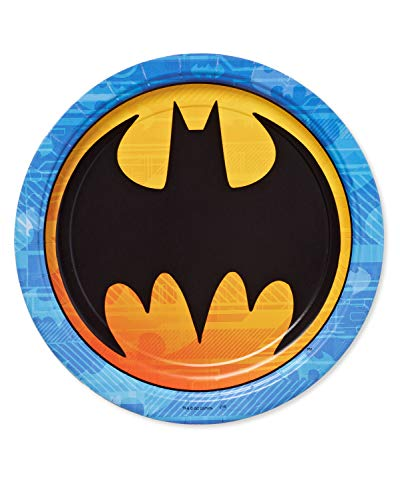 American Greetings Batman Party Supplies, Disposable Paper Dinner Plates, -