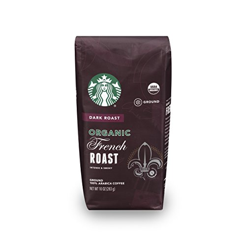 Starbucks Organic French Dark Roast Ground Coffee, 10-Ounce Bag (Pack of 6)