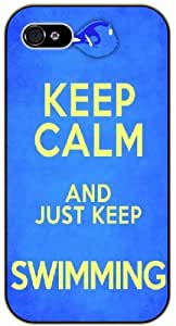 Keep calm and just keep swimming - iPhone 4 / 4s black plastic case / Inspiration Walt Disney quotes