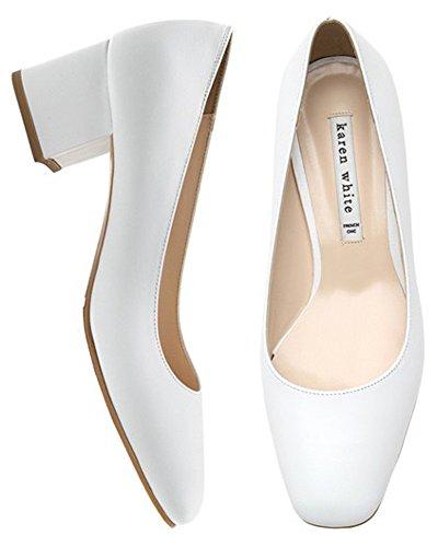 Sandali Tacco Medio Da Donna Karen Bianchi Scarpe Primavera In Vera Pelle, Più Colori Bianco
