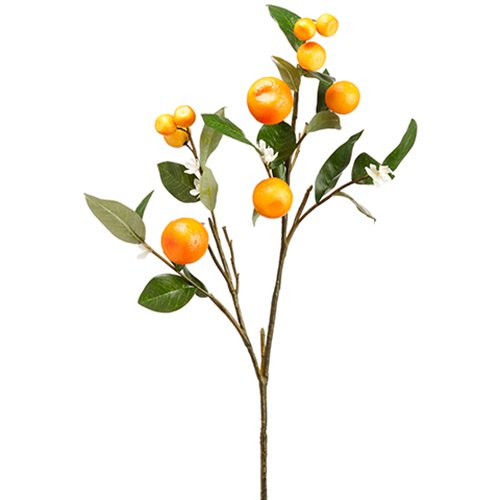 33'' Artificial Orange Spray Branch -Orange/White (pack of 12) by SilksAreForever