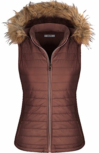 Flax Coat (2LUV Women's Quilted Flax Fur Hooded Vest Padded Fleece Jacket With Zip Closure Mocha M)