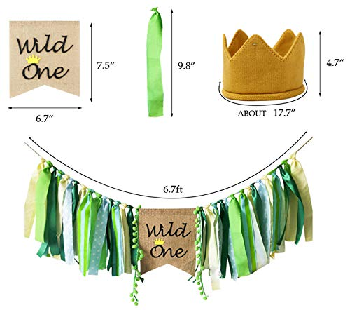 Wild One Banner HighChair Crown Decorations Set For Baby Girl Boy 1st Birthday Party Supplies Safari Zoo Jungle Themed