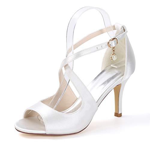 YC High cm Toe Hochzeit Peep Frauen Heels Heels Prom Satin Party Court Sandalen L White 5 8 Schnalle Wildleder Aqd4x4