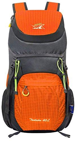 40L Sac à dos Sac de randonnée en Nylon Sac pliable Imperméable Ultraléger Respirant pluie pour Vélo Randonnée Équitation Voyage Alpinisme Orange