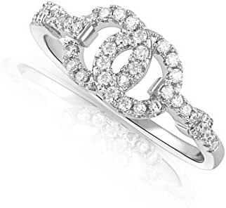 Sterling Silver Simulated Diamond Two Circle Ring (Size 4 - 9)