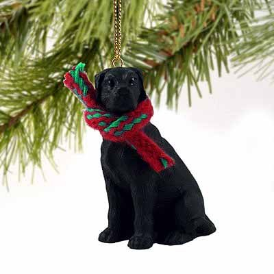 1 X Great Dane Miniature Dog Ornament - Uncropped Ears - Black ()