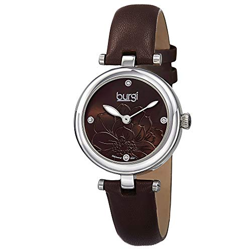 Burgi Women's BUR128BR  Round Brown Sunburst Effect Dial with Embossed Flower Quartz Strap ()