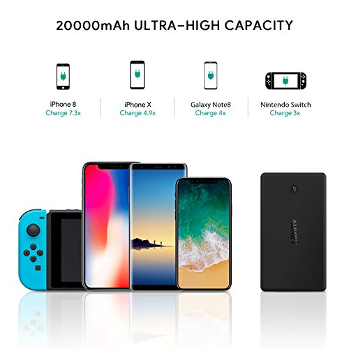 AUKEY 20000mAh Power Bank with Lightning & Micro Input Portable Charger, 3.4A Dual-USB Output Battery Pack for iPhone X/8/Plus, iPad Pro and More by AUKEY (Image #2)