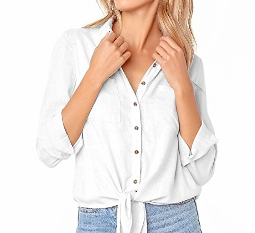 - FCZ Long Sleeve Tie Front Knot Casual Tops Button Down Shirts Women Henley Blouse Chest Pockets White L