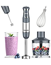 Immersion Hand Blender, FUNAVO 5-in-1 Multi-Function 12 Speed 800W Stainless Steel Handheld Stick Blender with Turbo Mode, 600ml Beaker, 500ml Chopping Bowl, Whisk, Frother Attachments, BPA-Free