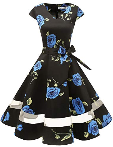 Gardenwed Women's 1950s Rockabilly Cocktail Party Dress Retro Vintage Swing Dress Cap-Sleeve V Neck Blue Rose XS -