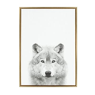 """Kate and Laurel - Sylvie Wolf Animal Print Black and White Portrait Framed Canvas Wall Art by Simon Te Tai, Gold 23x33 - FRAMED CANVAS PRINT: A decorative black and white wolf portrait is printed on framed gallery wrapped canvas. Print name: """"Wolf"""" by Simon Te Tai EFFORTLESS HANGING: The metal sawtooth hangers come attached on the inset MDF back for easy wall display STATEMENT SIZE: The frame is made of a lightweight material. The framed canvas display dimensions are 33 inches high by 23 inches across by 1.6 inches deep - wall-art, living-room-decor, living-room - 41gYW2nXSQL. SS400  -"""