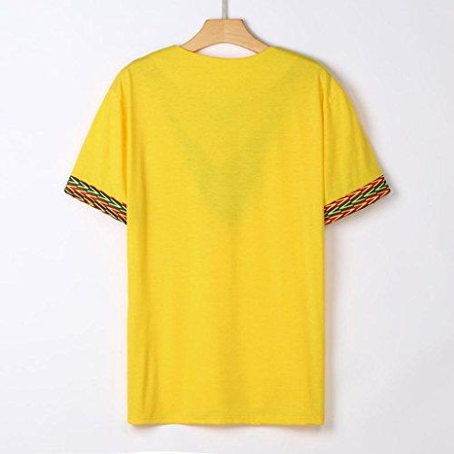 Pour Courtes Malloom À Africain T shirt Chemise Hommes Jaune Manches fwx6P60qY