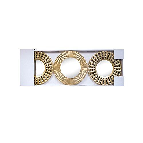 "DirectSaleUSA Sun Shaped Sunburst Wall Mirror Set (021916ol547), 10"" L x 4.78""  W x 5.75"" H, Gold"