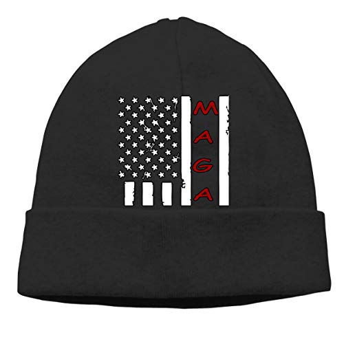 (Black White Flag MAGA Beanie Hat Classic Toboggan Hat Winter Hats Knit Hat Beanies for Men and Women)