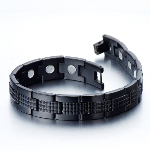 Modern Sleek Black Stainless Steel Mens Magnetic Bracelet with Magnets and Free Link Removal Tool