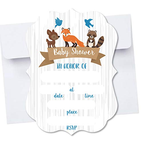 Woodland Creatures Die Cut Shape Blank Fill in Invite Baby Shower Invitation 10 Pack Envelopes A7 5x7 Die Cut Design (Blue) by PaperGala