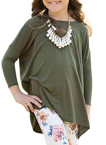 GOSOPIN Girls Casual Basic Solid Long Sleeve Tunic Tops Loose Blouse Shirt 4-13Y XX-Large Olive Green ()