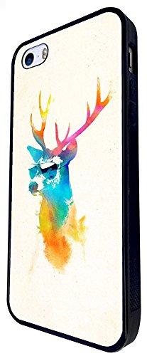 345 - Splash Watercolour Deer Sunglasses Design iphone SE - 2016 Coque Fashion Trend Case Coque Protection Cover plastique et métal - Noir