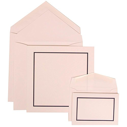 JAM Paper Wedding Invitation Combo Sets - 1 Small & 1 Large - Black and Blue Border Sets, White Card with White Envelope - 150/pack by JAM Paper