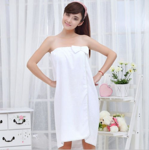 MAZIMARK--1X Women Absorbent Microfiber Bow Shower Body SPA Bath Wrap Towel Bath Robe Hot