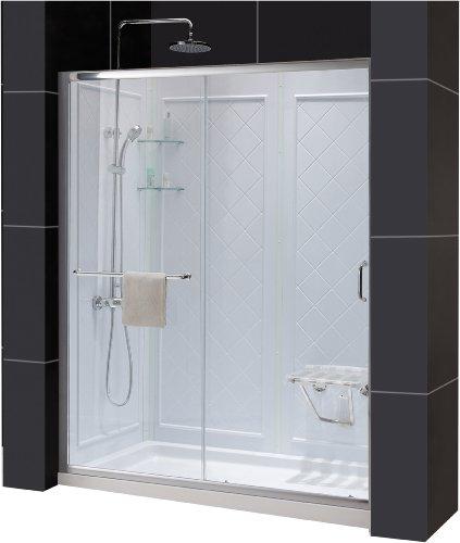 DreamLine DL-6118L-04CL Infinity-Z Frameless Sliding Shower Door, 34-Inch by 60-Inch Single Threshold Shower Base Left Hand Drain and QWALL-5 Shower Back Walls Kit