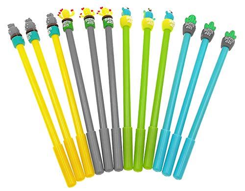 12pcs Gel Pen Black Ink Roller Marker Pen(Assorted Colors Cactus Potting Styling)