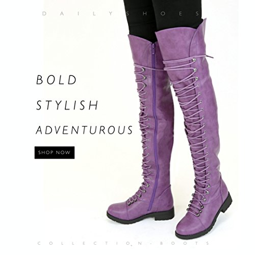 Design with Mility Boots Boot Purple Style DailyShoes Lace Women's Easy High up Vegan Thigh Zipper Lace up Pu Trendy qqv6XWfwaP