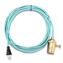 KINGSO E26/ E27 Solid Brass Industrial Light Socket Vintage Edison Hanging Textile Cord Pendant With Switch And 19.68 Feet Cord(Light Blue Wire)(Not Included Bulbs)